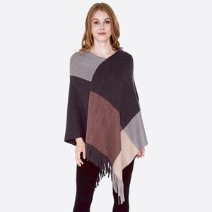 Sweaters - NWT Color Block Knit Poncho with Fringes